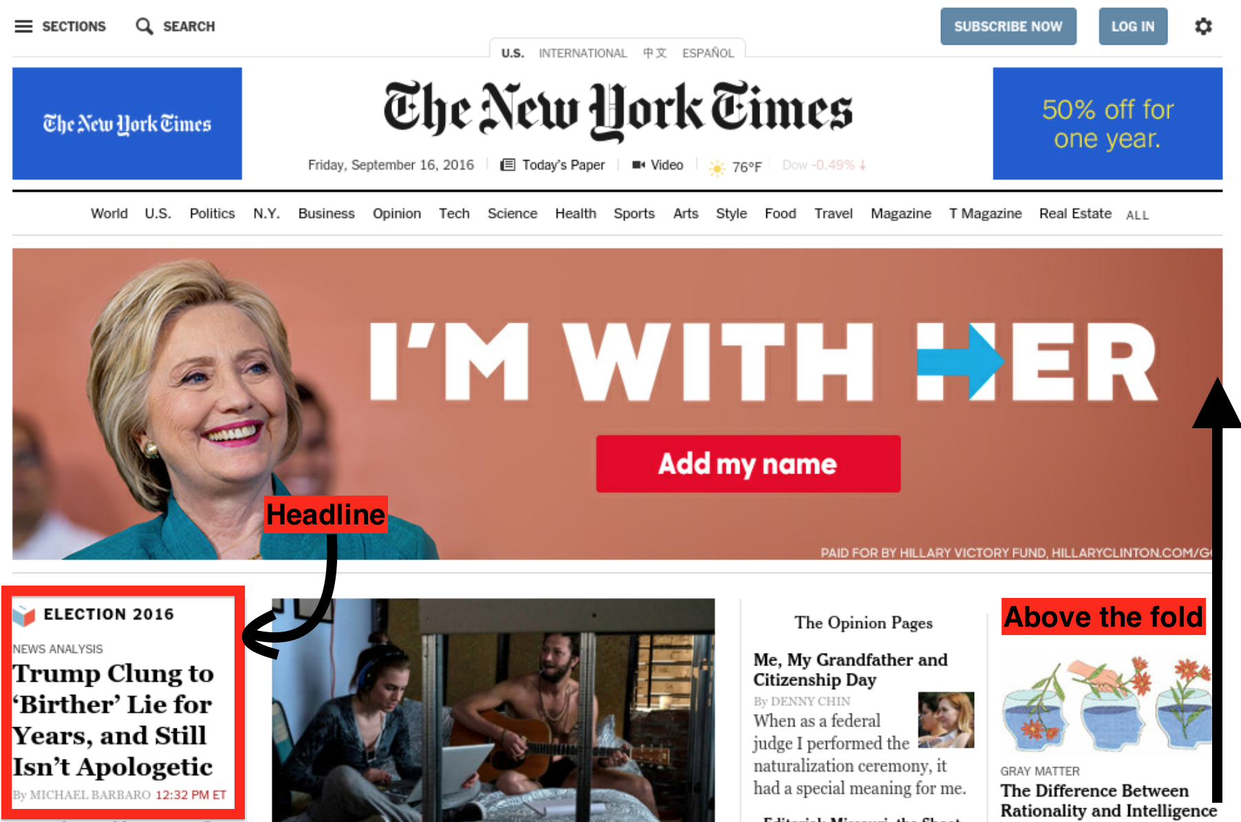Example NYT screenshot from September 16th